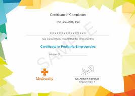 Certificate Outline Certificate In Pediatric Emergencies Medvarsity