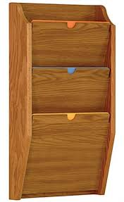 3 Tiered File Holder For Wall Mount 3 Pockets Meets Hipaa Standards Medium Oak