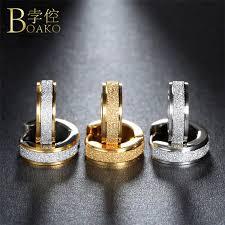 2019 <b>BOAKO</b> Aros 316L <b>Stainless Steel Earrings</b> For Women Men ...