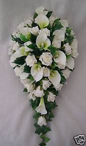 Wedding Silk bouquet latex pink oriental lily silk white rose teardrop  flowers | eBay