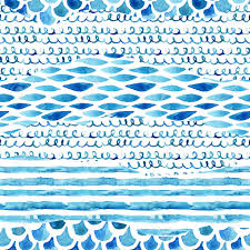 ilration watercolor textured seamless pattern with wave stripe squiggle fish scale ornaments abstract background in marine style hand painted