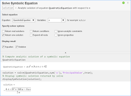 symbolic equations in live editor
