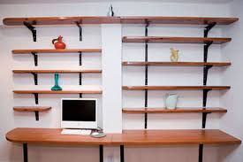 simple design of an awesome office modern minimalist wall mounted bookshelves above wooden computer desk design ideas awesome office desk simple
