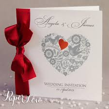 wedding invitations with hearts personalised wedding invitations love heart ribbon paper cards bird