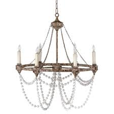 auvergne french country rustic iron white bead chandelier chandeliers with wooden beads