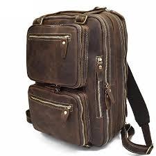 backpack laptop bag leather rucksack men travel school shoulder vintage mens genuine messenger new camping backpacks