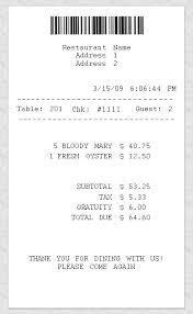 receipt blank blank restaurant receipt