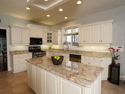 Granite With Cream Cabinets Kitchen Pleasurable Granite Kitchen Countertops With White Trim