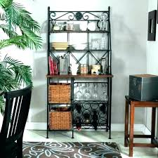narrow bakers rack wrought iron with wine wood shelves tall baker racks lowe s narrow metal
