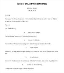 Template Free Meeting Memo Template Mandatory Email Mandatory