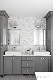 double vanity in bathroom painted benjamin moore chelsea gray hexagon mosaic tile backsplash calacatta