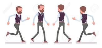 Employee Office Handsome Male Office Employee Walking Running Illustration Royalty