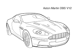 Super Car Aston Martin Dbs V12 Coloring Page For Kids Printable Cars