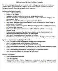 Sample Firefighter Paramedic Job Description