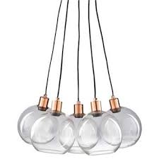 celia copper coloured metal and glass 5 bulb pendant h122 x w61 x