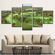 5 pieces golf course paintings modular green aerial view canvas it make your day on golf club wall art with 5 piece golf course green aerial view canvas wall art paintings sale