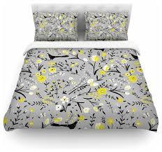 laura nicholson blackbirds on gray gray yellow duvet cover cotton twin contemporary