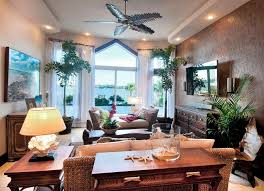 Elegant Tropical Living Room Decorating Ideas With Unique Ceiling Fan And  Using High Quality Furniture