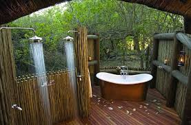 Natural Outdoor Bathroom Design with Wooden Deck, Wooden Fence and Double  Shower