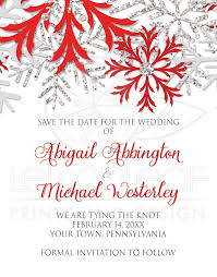 Christmas Wedding Save The Date Cards Save The Date Cards Winter Snowflake Red Silver