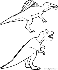 Spinosaurus And T Rex Coloring Page Dinosaurs