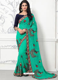 Jade Designer Sarees Jade Green Georgette With Border Work Designer Saree Women