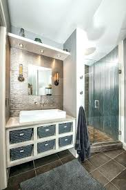 corrugated metal shower bathroom contemporary with white vessel sinks walls ideas example of a trendy ti