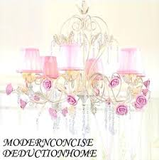 pink and white chandelier new design 6 lamp quality crystal pure white chandeliers fabric cover iron