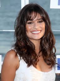 lea michele long wavy tousled brunette hairstyle with bangs