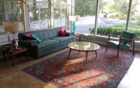 midcentury living room with oriental rug