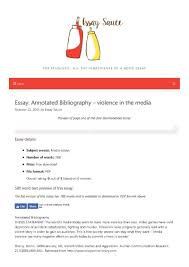 Annotated Bibliography Violence In The Media Media Essays