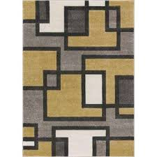 ruby imagination squares gold 8 ft x 10 ft modern area rug
