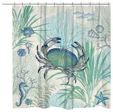 laural home blue crab shower curtain