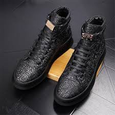 19new men s genuine leather high top thick outsole fashion casual skate shoes brand man ankle boots mens young printed nightclub party flats