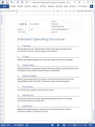 standard operating procedures template word standard operating procedures templates ms word excel