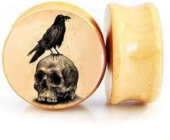 8MM-30MM Ear Plug Wood Natural Tunnel <b>Anchor</b> Illuminati <b>Skull</b> ...
