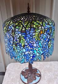 lg tiffany style arts crafts stained leaded glass wisteria tree lamp mosaic base 1 of 12 see more