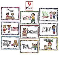 Good Manners Chart For Class 1 Alpurple 9 Packs A4 Size Class Rules Posters A4 Size Classroom Rules Behavior Educational Posters Good Habits Manners Chart For Preschool And