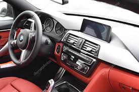 april 2016 red leather interior of a 2016 bmw 4 gran coupe during the luxury cars presentation in deggendorf stock editorial photography