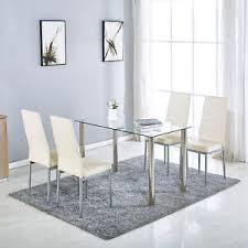 5 pcs gl dining table 4 chairs metal kitchen room breakfast furniture beige
