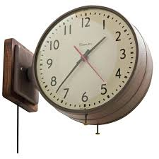 double sided wall clock double sided simplex clock in brown with walnut circa for double double sided wall clock
