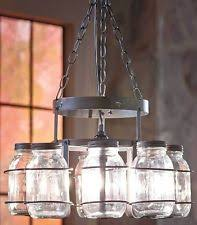 Mason Jar Wrought Iron Chandelier Canning Jar Light Dining Room Country  Rustic