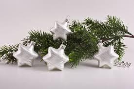 4 Sterne Weiß Matt Iris Geringelt Weihnachtskugeln Lauschaer Christbaumschmuck