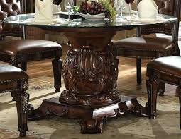 acme vendome dining set acme single pedestal dining table with tempered glass top in cherry acme