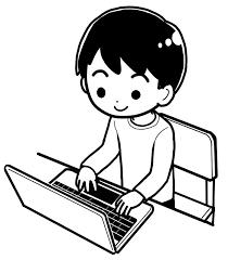ノートパソコンを使っているイラスト 無料イラストサイトイラぽん