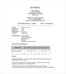 Printable Travel Invoice Template Travel Receipt Format