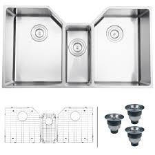 ruvati undermount stainless steel 35 in 16 gauge triple bowl kitchen sink