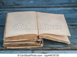 open blank pages of old book on wood background csp44678730