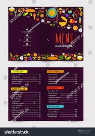 Menu Presentation Design Creative Restaurant Menu Card Design Front Stock Vector