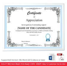 Of Certificate Appreciation Template Editable Best Blank